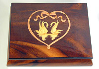 Music Box brown, Inlay: Swans, Love Story, 5.9inch