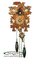Quarz Carving Cuckoo Clock, Edelweis, Music, 9 inch