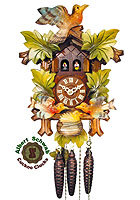 1-Day Music Carving Cuckoo Clock Feeding Birds, color, 12.2 in
