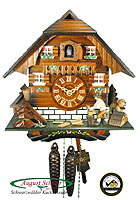 1-Day Cuckoo Clock Black Forest Chalet, mov. Wood Chopper, 9.84 inch
