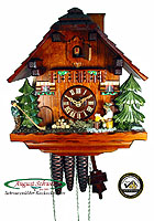 1-Day Music Cuckoo Clock Alphorn Player, 11.2inch