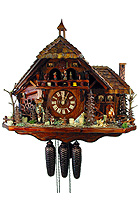 8-Day Cuckoo Clock Music Dancers Black Forest Farming Estate, 18.5 inch