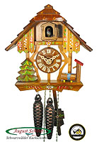 1-Day Cuckoo Clock Timberframe House, 8.66 in