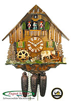 8-Day Cuckoo Clock Chalet Music: Black Forest Farmstead, Cow, 13.4inch