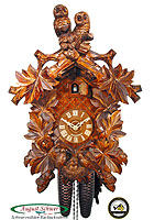 8-Day Carving Cuckoo Clock Owl Clock, 18.3inch