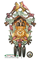 8-Day Carving Cuckoo Clock Birds in the Garden, 22,5 inch