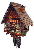 8-Day Chalet Clock: Log House, Hunter & Bear, 14.2inch