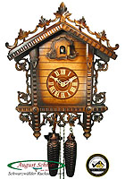 8-Day Carving Cuckoo Clock Train Station Clock, 16.9 inch
