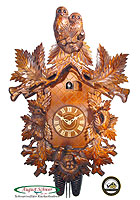 8-Day Carving Cuckoo Clock Owl Clock, 21.65 inches