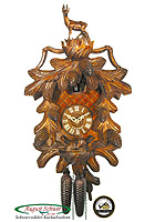 8-Day Carving Cuckoo Clock Ibex & Cones 16.2 inch