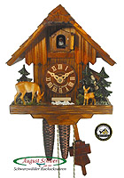 1-Day Cuckoo Clock Forest Cabin Deer, Luxury, 8.27inch