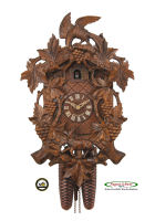 8-Day Carving Cuckoo Clock Fable, Fox - Raven,  15,5inch