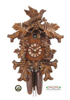 8-Day Carving Cuckoo Clock Birds inside Vine, 17,3inch