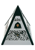 Cuckoo Clock Pyramid, white, Quarz-Movement 12 Tunes, 9.4inch