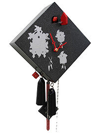 1-Day Cuckoo Clock Art Collection Rhombus black, 9.5inch