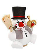 Chubby Smoker Snowman with Vest 4.7 inches